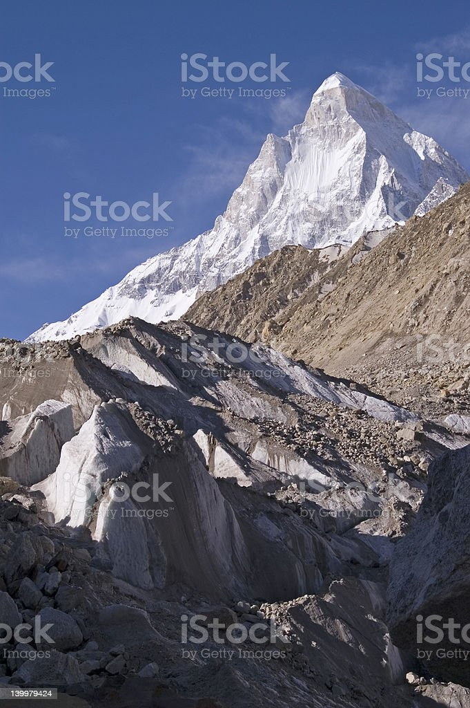 Shivling and Gomukh glacier stock photo