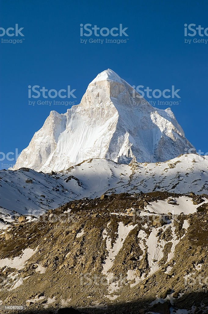 Shivling paek in Himalayas stock photo