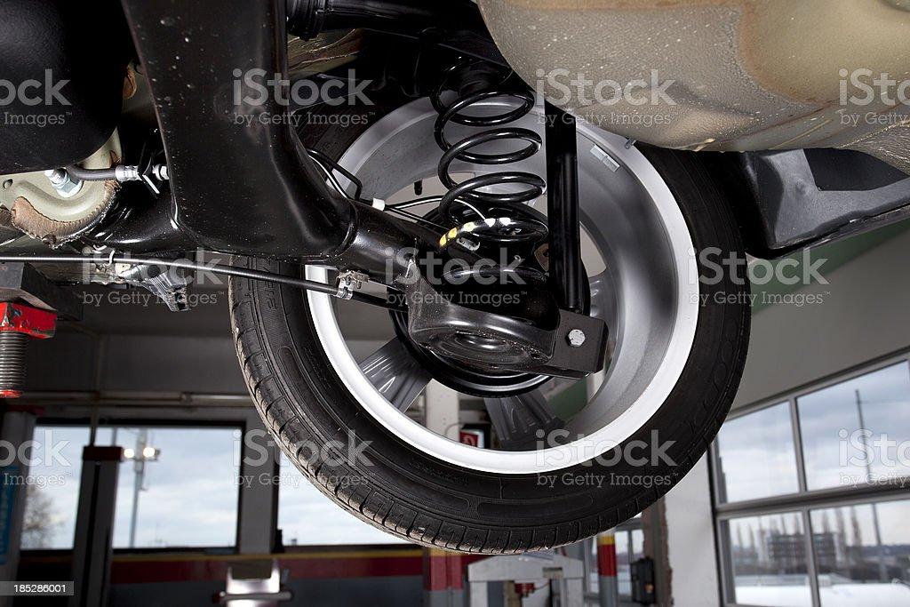 Shock absorbers and rear tire of a modern car stock photo