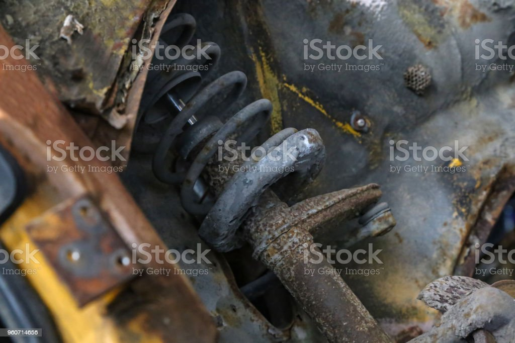 Shock absorbers for an old car stock photo