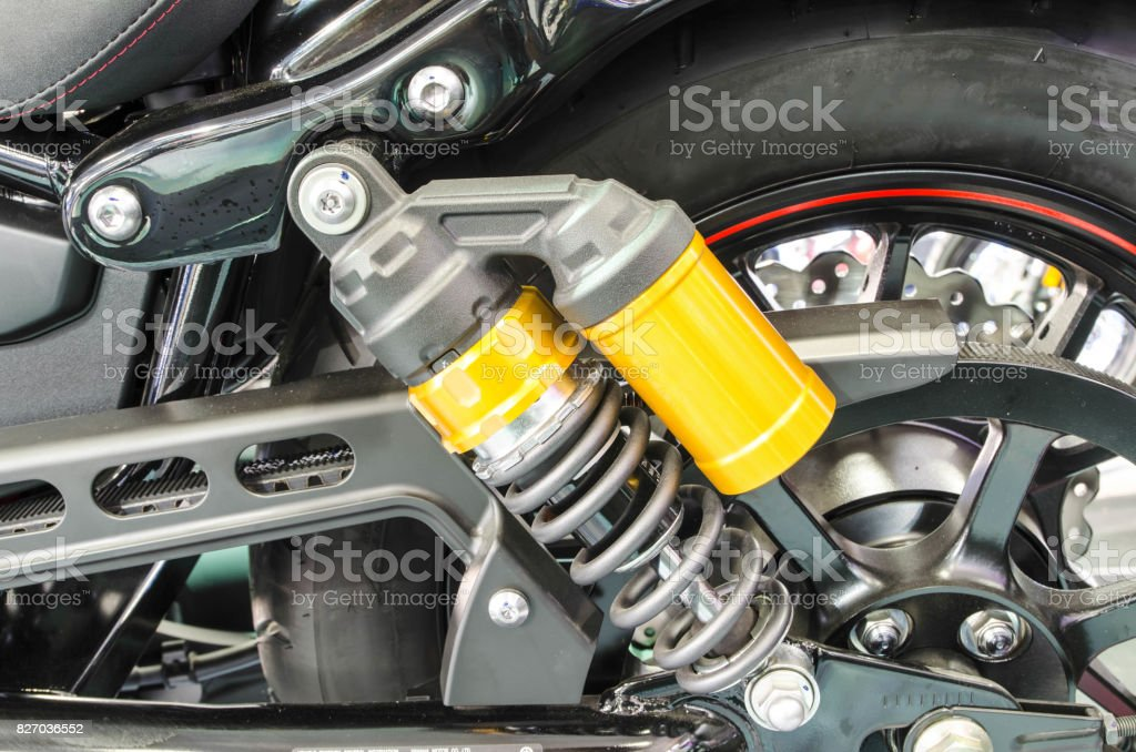 Shock Absorber's motorcycle for reducing vibration when driving stock photo