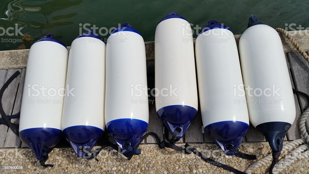shock-absorbing cushions for boats stock photo