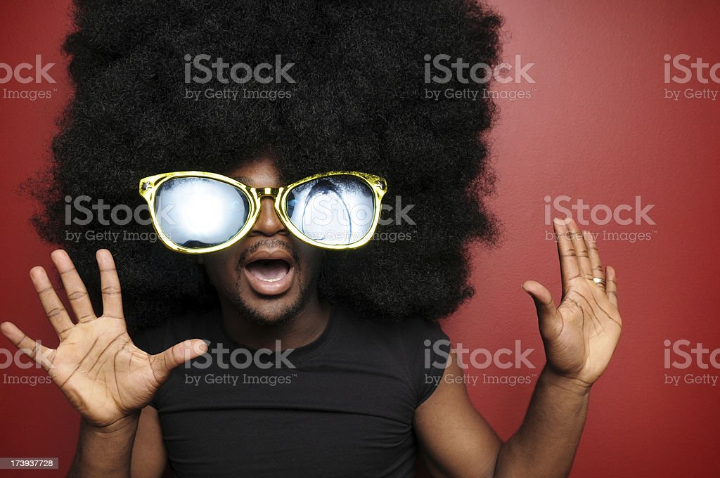 Shocked Afro Man with Sunglasses stock photo