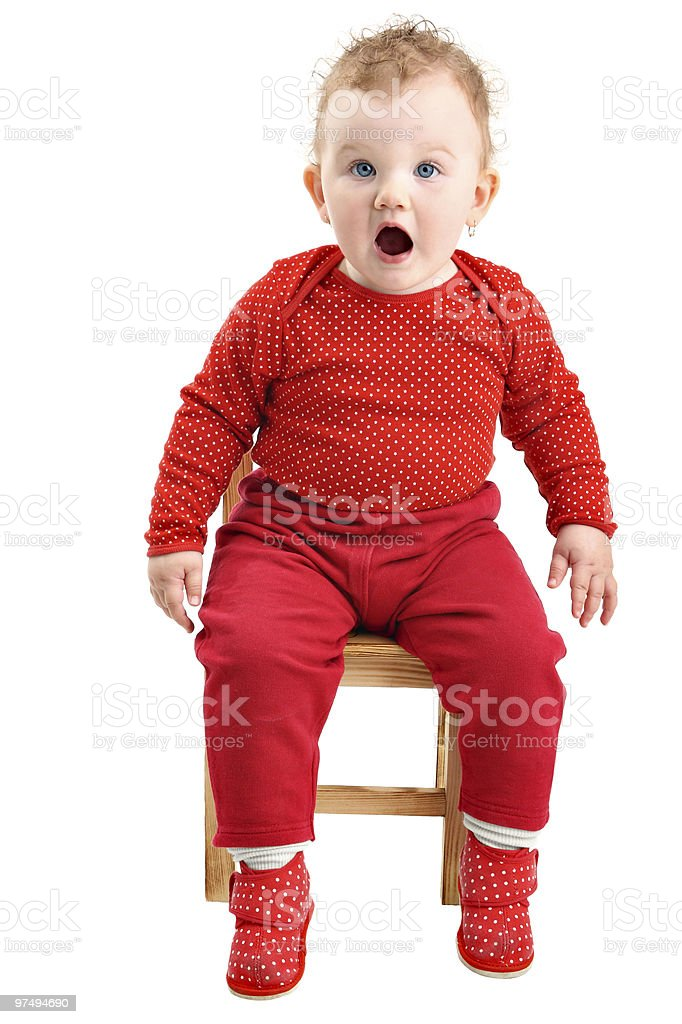 Shocked and startled baby looking at camera isolated on white royalty-free stock photo