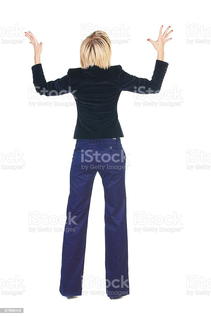Shocked blonde businesswoman. Rear view . royalty-free stock photo