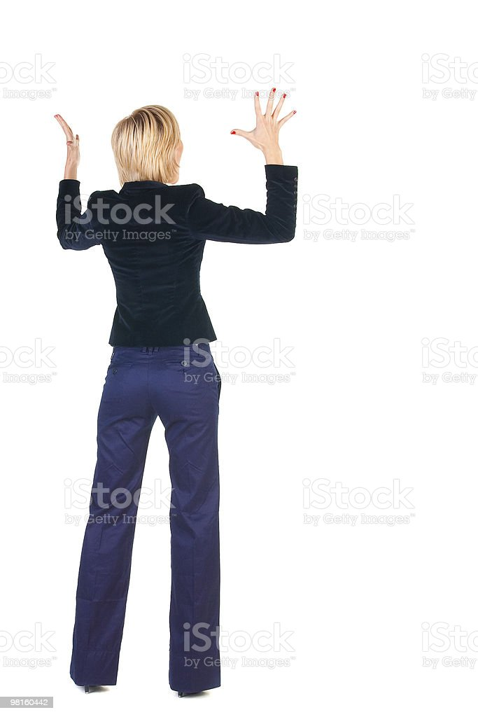 Shocked blonde businesswoman. Rear view royalty-free stock photo