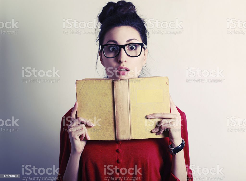 Shocked by the book royalty-free stock photo
