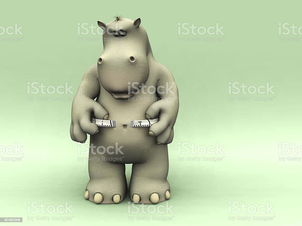 Shocked cartoon hippo measuring his waist. royalty-free stock photo