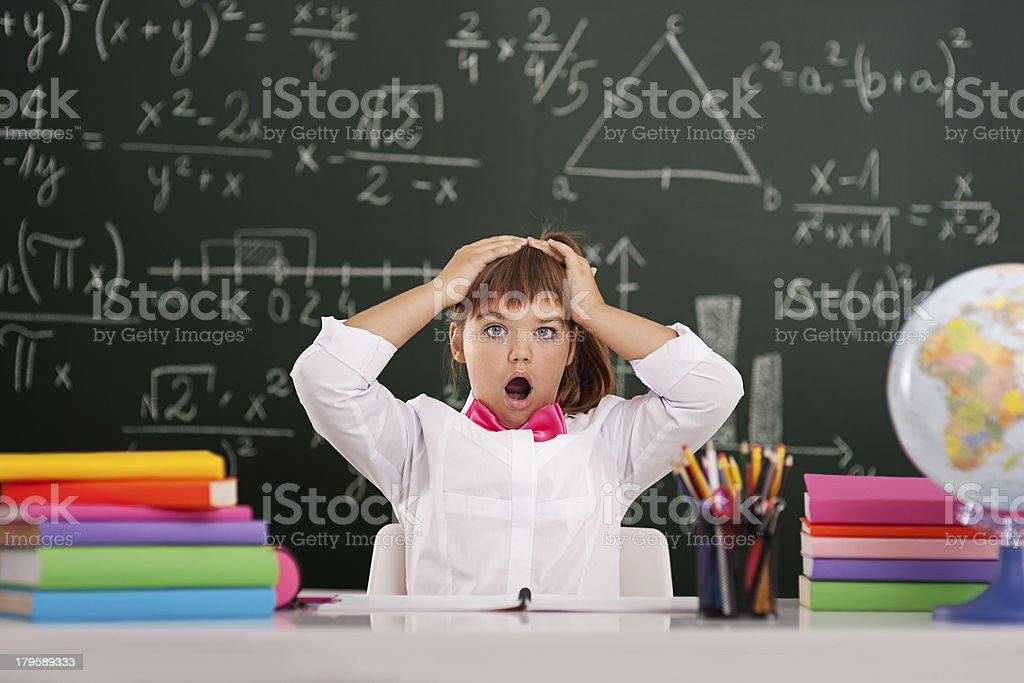 Shocked cute pupil in classroom royalty-free stock photo