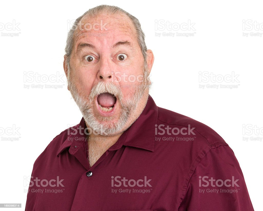 Shocked Gasping Senior Man stock photo