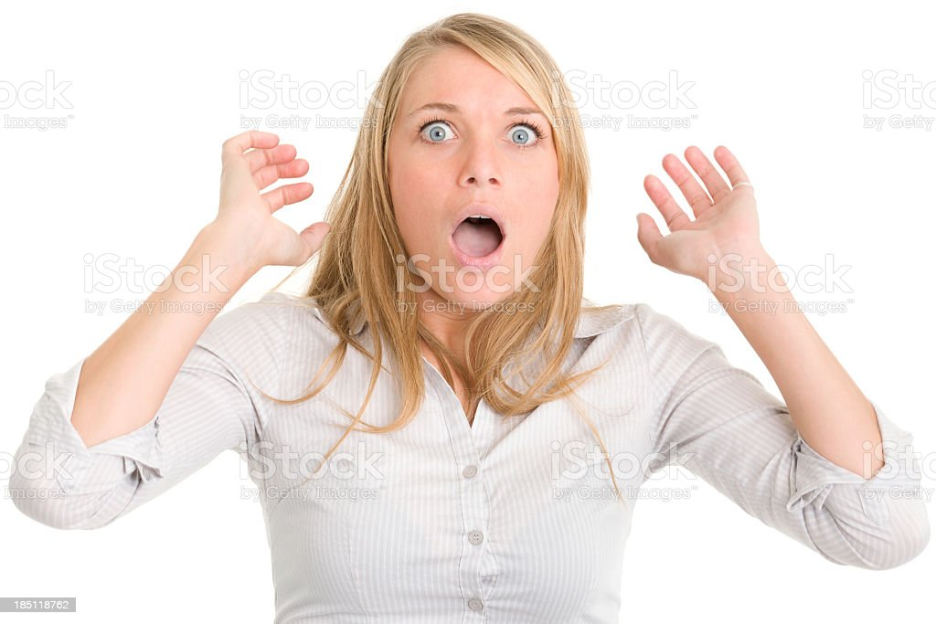 Shocked Gasping Woman royalty-free stock photo