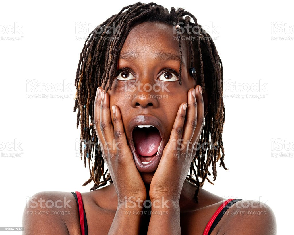 Shocked Gasping Young Woman With Hands On Cheeks royalty-free stock photo