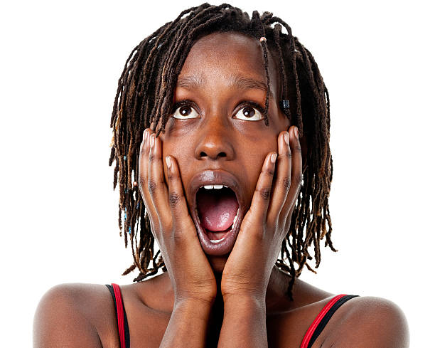 Shocked Gasping Young Woman With Hands On Cheeks Portrait of a young woman on a white background. http://s3.amazonaws.com/drbimages/m/mwekat.jpg spaghetti straps stock pictures, royalty-free photos & images