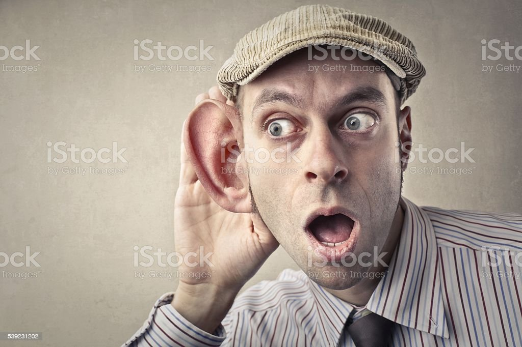 Shocked old fashioned man with big ear foto de stock libre de derechos