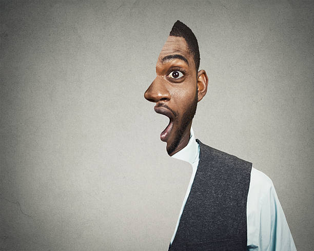 shocked, surprised business man - illusion stock photos and pictures