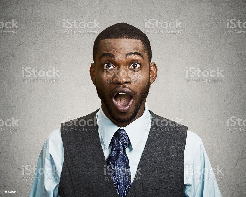Shocked, surprised business man stock photo
