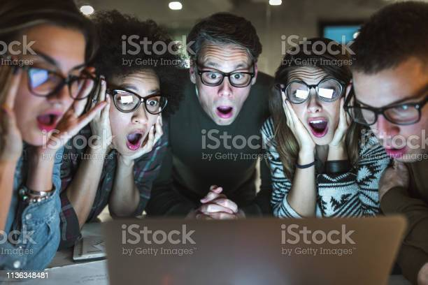 Shocked team of entrepreneurs reading an email on laptop in the picture id1136348481?b=1&k=6&m=1136348481&s=612x612&h=zrdxbrpefwr282excrde4aphjesqba6arj0jgilguui=