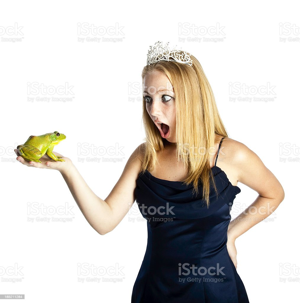 Shocked Teen Princess with Frog Prince royalty-free stock photo