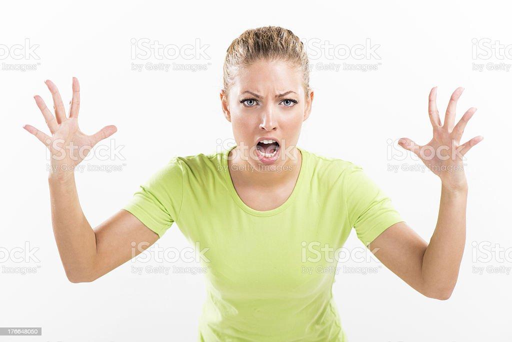 Shocked yelling mujer joven foto de stock libre de derechos