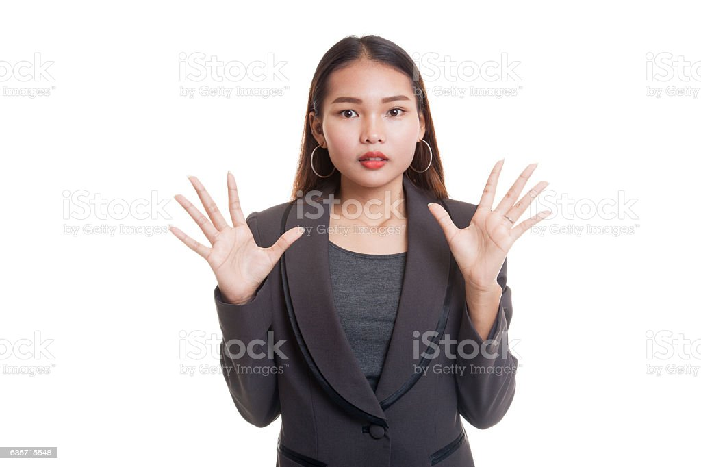 Shocked young Asian business woman. royalty-free stock photo