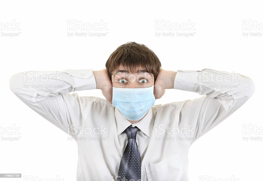 Shocked Young Man in Flu Mask royalty-free stock photo