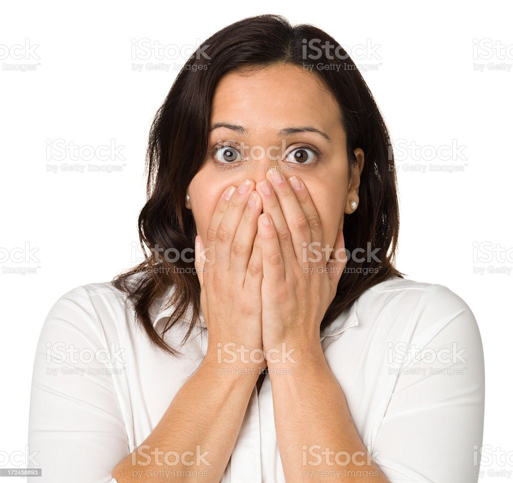Shocked Young Woman Covering Mouth royalty-free stock photo