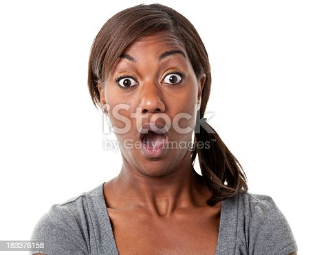 istock Shocked Young Woman Gasps 183376158