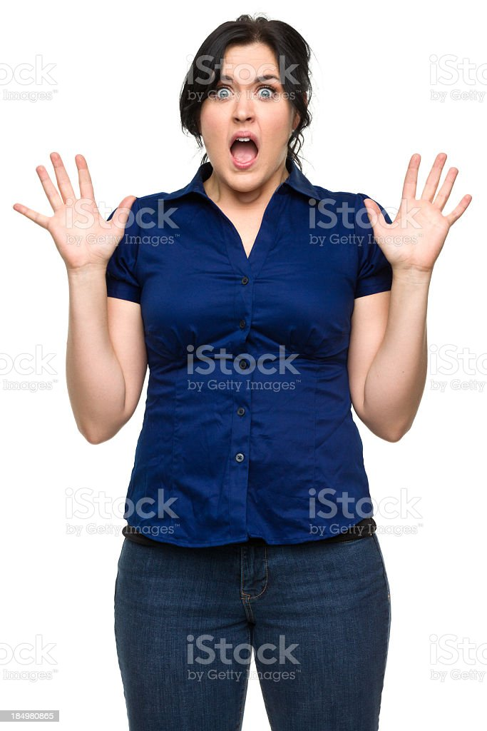Shocked Young Woman With Hands Up royalty-free stock photo
