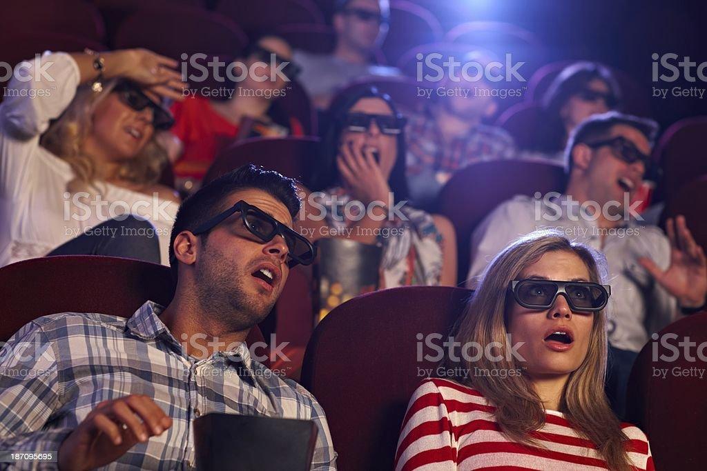Shocking 3D movie in cinema stock photo