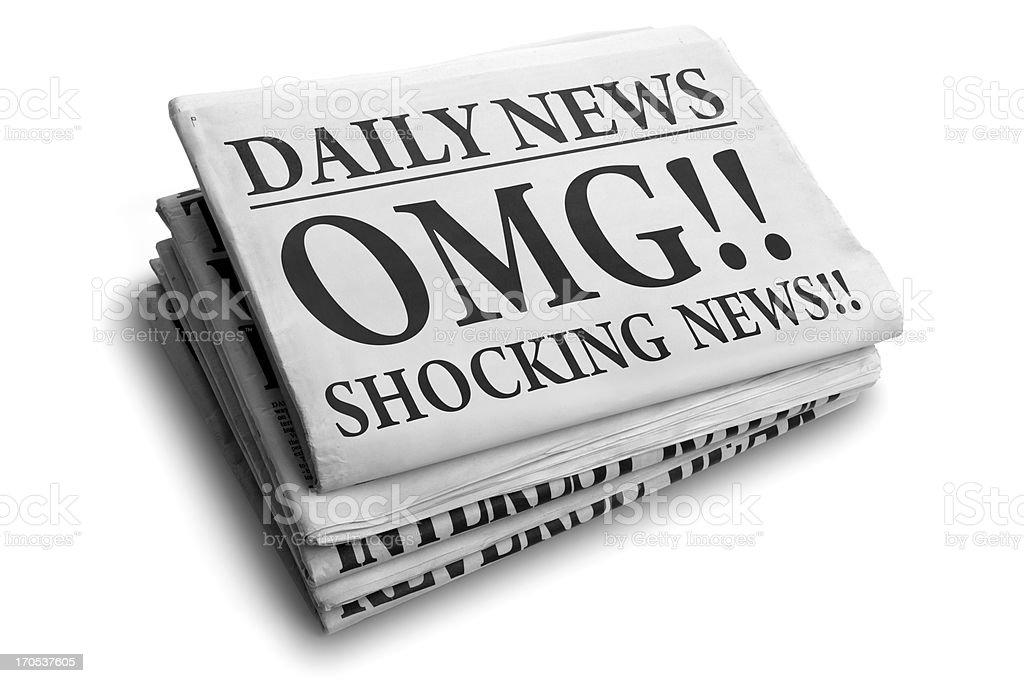 OMG shocking news daily newspaper headline royalty-free stock photo