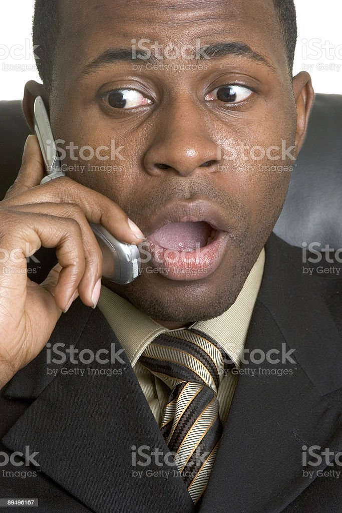 Shocking phone call royalty free stockfoto