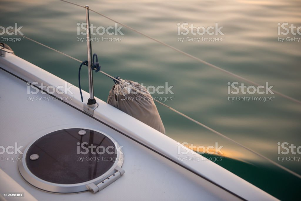 A shockproof buoy to protect side of the yacht stock photo