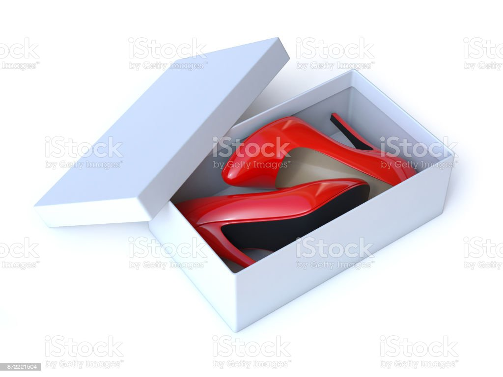 Shoe Box With Pair Of Red High Heels Shoes 3d Illustration