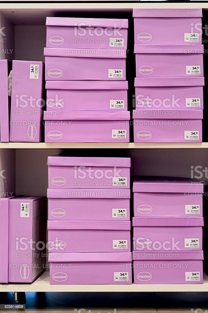 shoe boxes stock photo