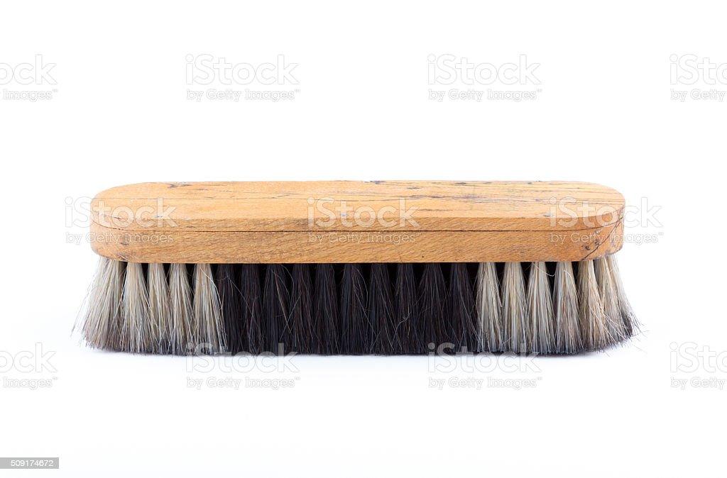 shoe brush on white stock photo