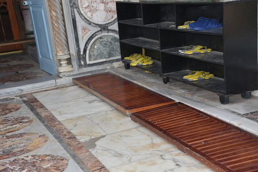 A shoe cabinet in a mosque