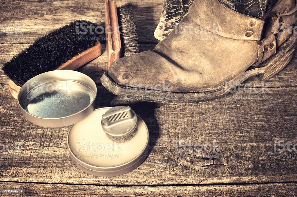 Shoe care stock photo