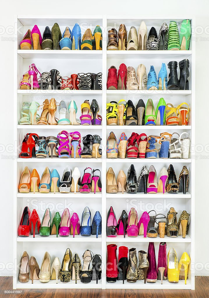 shoe closet with lots of colorful high heels xxxl image stock photo more pictures of addiction. Black Bedroom Furniture Sets. Home Design Ideas