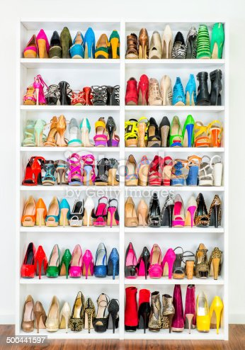 istock Shoe Closet with lots of colorful High Heels, XXXL image 500441597