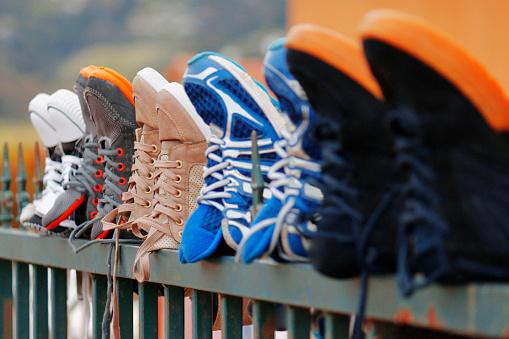 Shoe clothing feet running fashion drying sunning palisades township people