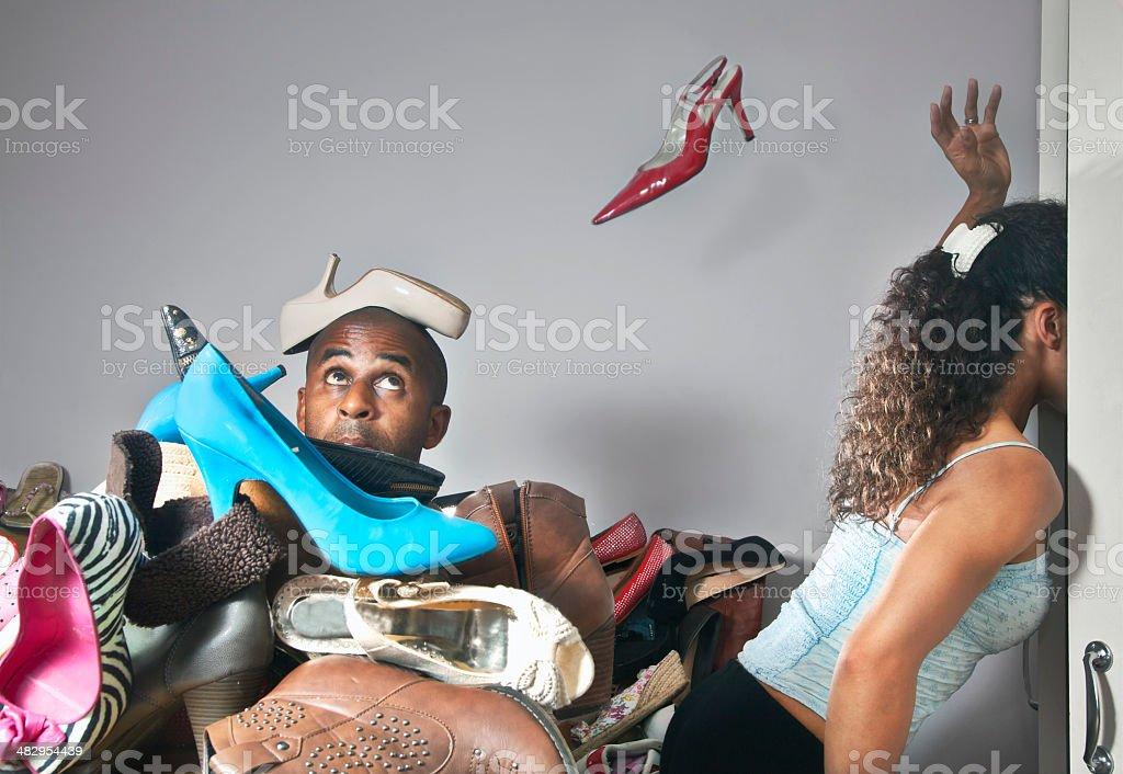 Shoe indicision stock photo