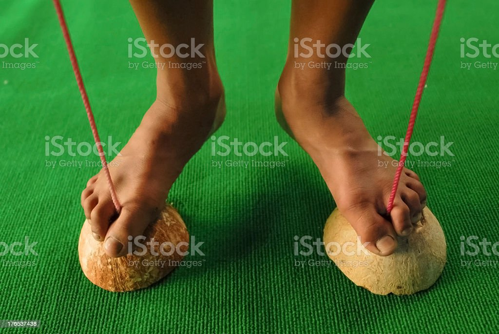 Shoe made of coconut shell for Thai boxer trainning royalty-free stock photo