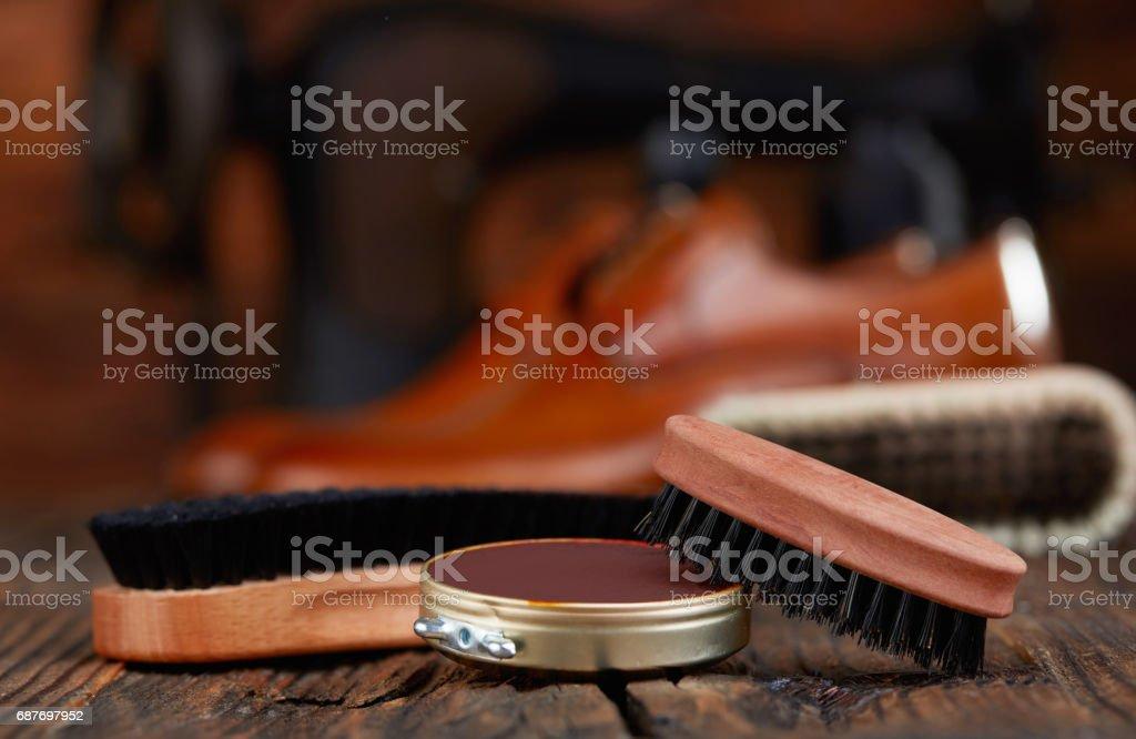 Shoe polish stock photo