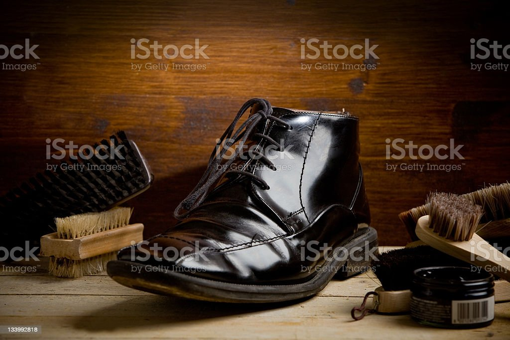 Shoe polishing tools stock photo