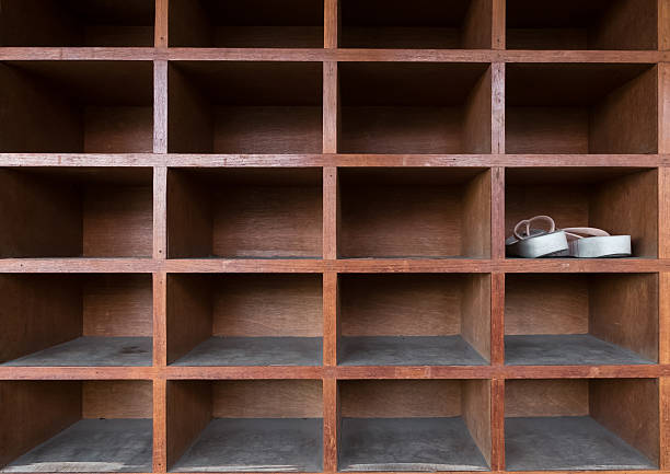 Shoe Rack With Empty Space Stock Photo