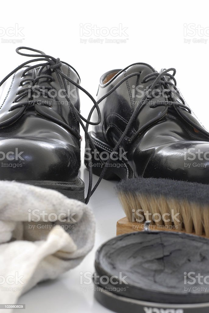 Shoe shine stock photo