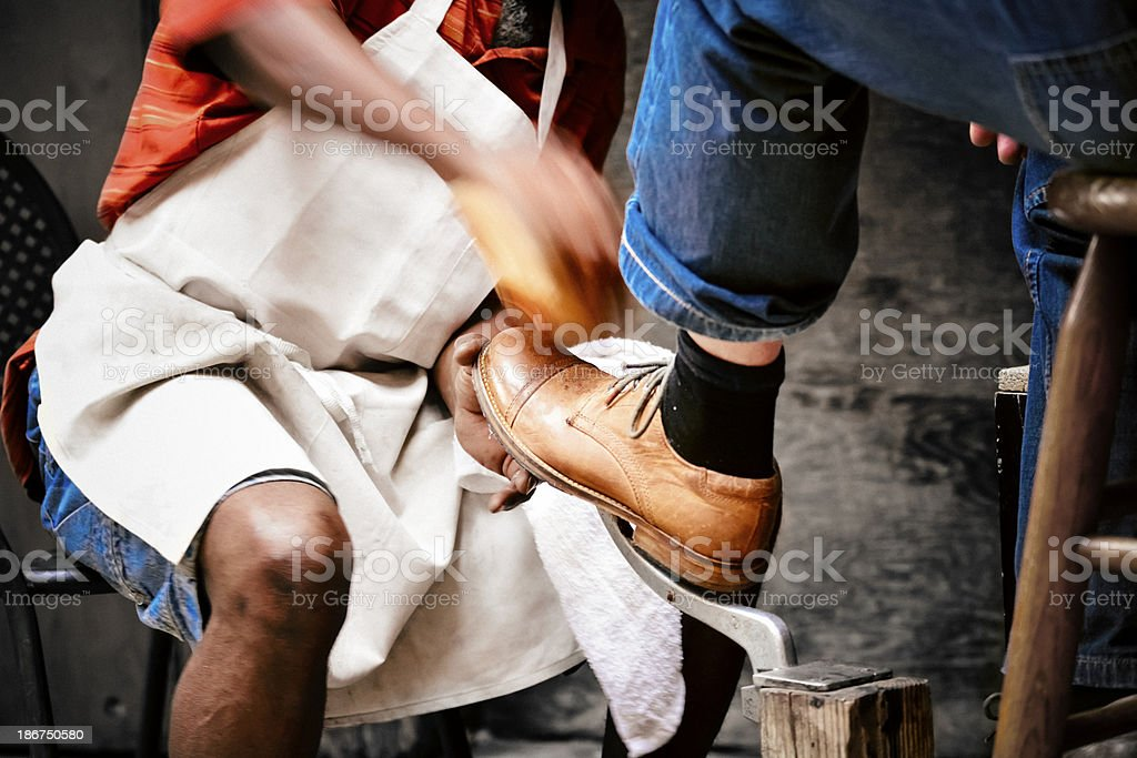 Shoe shinner stock photo