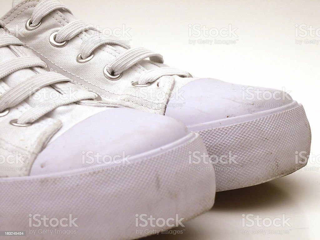 Shoe (White canvas) Toe only royalty-free stock photo