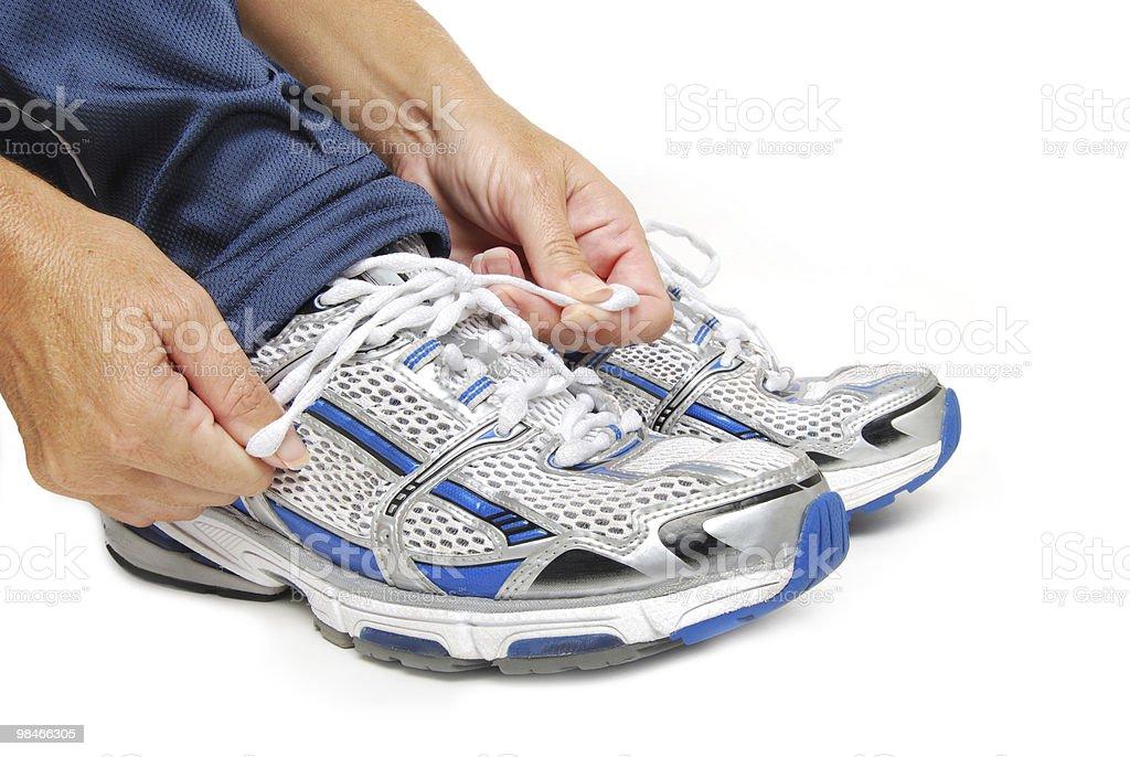 Shoe Tying royalty-free stock photo
