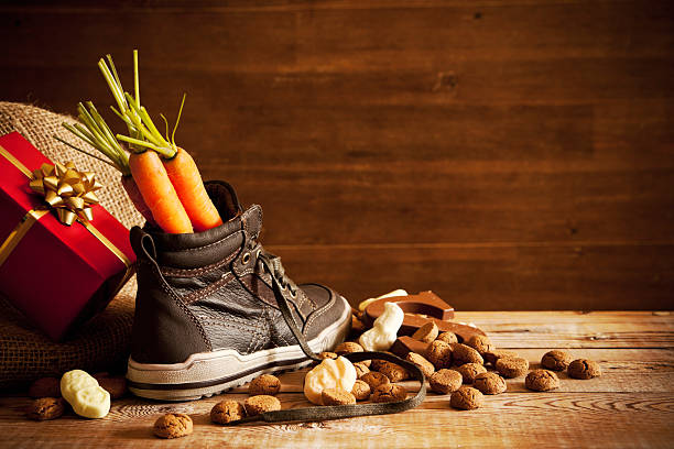 Shoe with carrots, for traditional Dutch holiday 'Sinterklaas' stock photo
